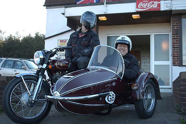 Declan Curry in motorcycle sidecar
